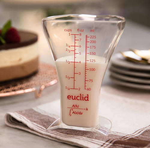 Euclid measuring cup next to cake